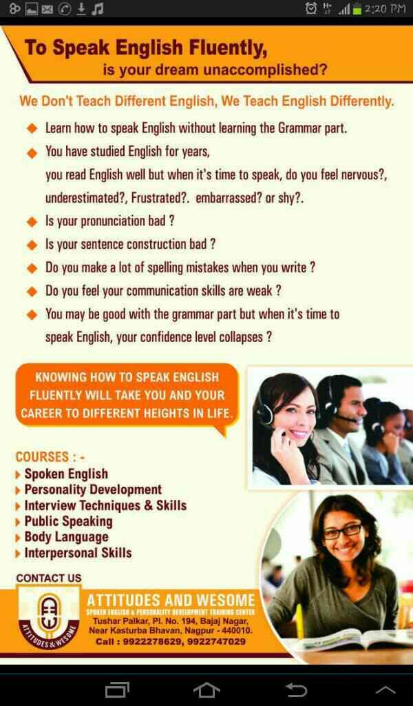Best English Language Training Institute in Nagpur - by Attitudes and Wesome, Nagpur
