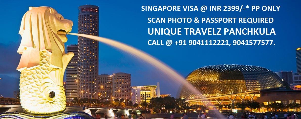 LIMITED PERIOD OFFER. SINGAPORE VISA JUST @ INR 2399/- PER PERSON ONLY. HURRY !! CALL @ +91 9041112221, 9041 577 577, 0172-5057246.  EMAIL @ agents.unique@gmail.com - by UNIQUE TRAVELZ, Chandigarh