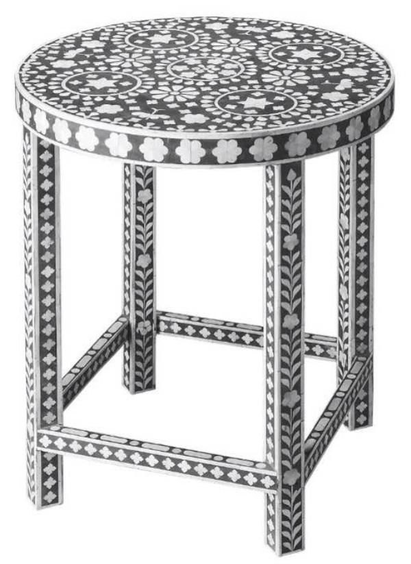 Bone Inlay Stool Size - 12 D x 18 H inch Colour - Black A Product By Miclandts  - by Miclandts, Udaipur