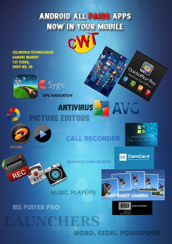GET ALL PAID APPS FOR YOUR ANDROID AND IOS CELLPHONES. - by cellworld technologies, Gandhidham