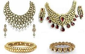 POLKI ( JADAU ) :   The oldest jewellery tradition of Bikaner 'Jadau' work. The total process need much handwork and caution. Suppose, 4-5 diamonds are to be fitted in a necklace, it needs a whole day to compete the job, This type of Jewell - by Bhanwar Lal Jewellers, Bikaner