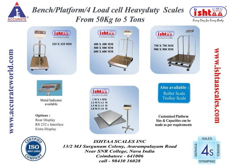 Manufacturer of Electronic Weighing Scales.  - by Ishtaa Scales Inc, Coimbatore