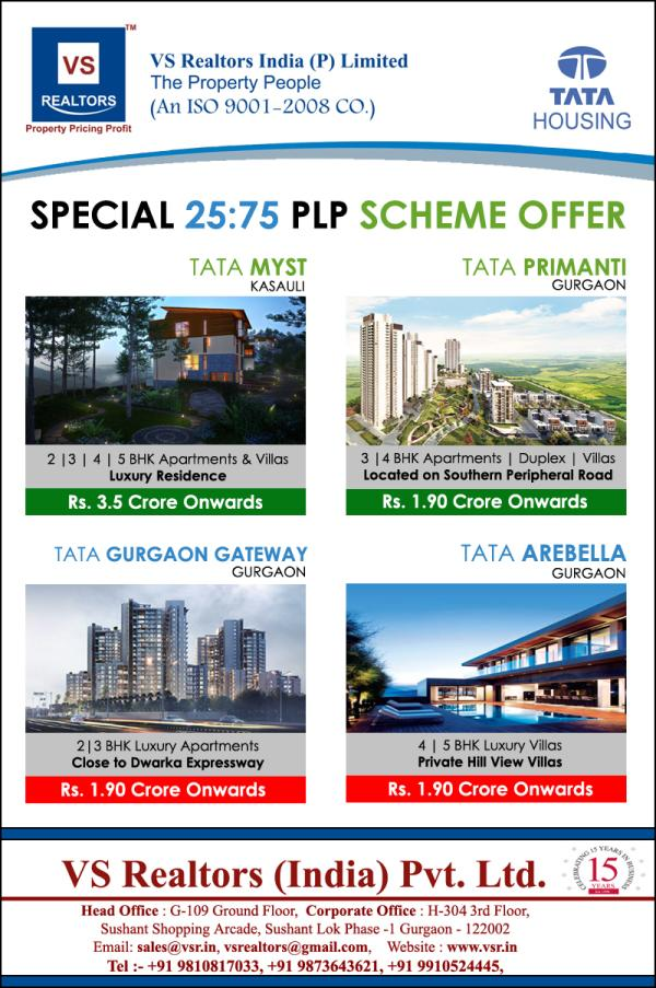 Special 25:75 Payment Plan Scheme Offer   Tata Myst Kasauli  2 | 3 | 4 | 5 BHK Apartments & Villas  Rs. 3.5 Crore Onwards  Tata Primanti Gurgaon  3 & 4 BHK Apartments | Duplex | Villas  Located on Southern Periphery Road  Rs. 1.90 Crore Onw - by V S Realtors India (P) Limited, Gurgaon
