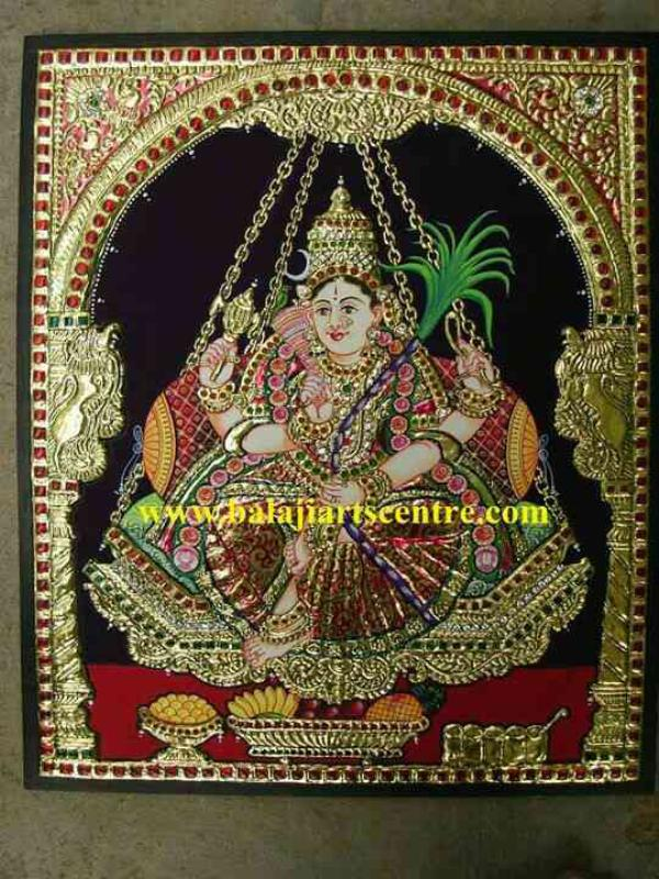 Tanjore painting of Rajarageshwari  in Bangalore size 15x18 Rs 23, 000 discount 3, 000 - by Sri Balaji Art Centre, Bangalore