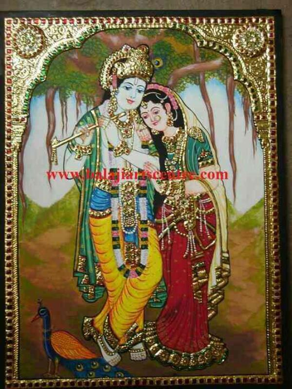 Tanjore painting of Radha Krishna in Bangalore size 18x24. - by Sri Balaji Art Centre, Bangalore