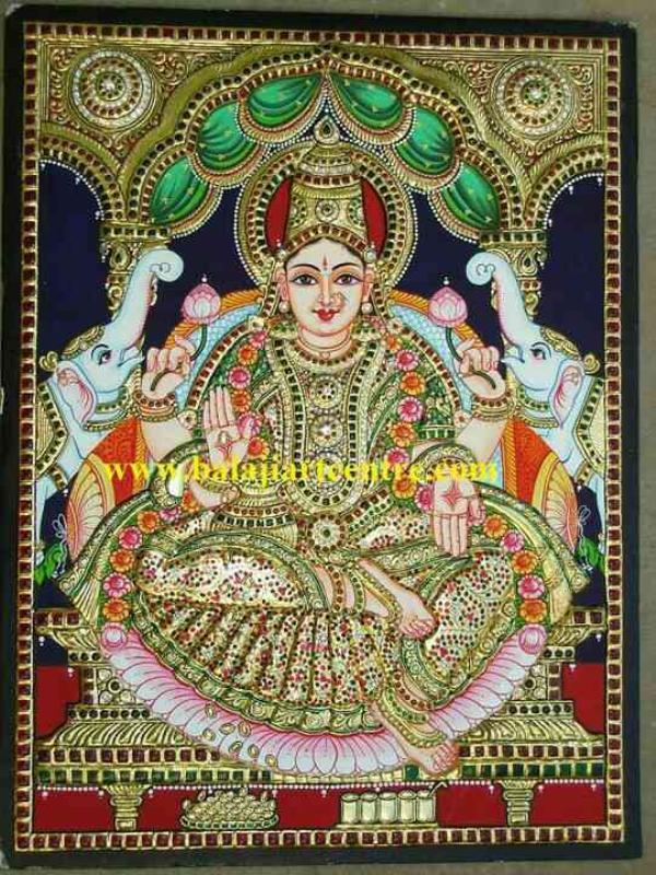 Tanjore painting of Gajalakshmi in Bangalore size 18x24, Tanjore Paintings in Bangalore - by Sri Balaji Art Centre, Bangalore