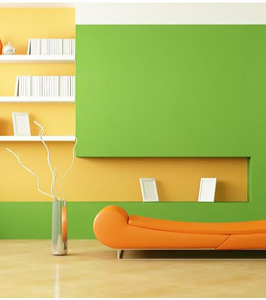 Choose a zesty lime shade for your walls and pair it with this ‪#‎fun‬ and vibrant orange. - by Quality Paints, Pune