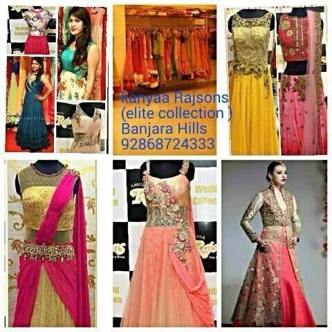 Kanyaa Rajsons : A perfect Hub for designer wear.. Entire range of bridal gowns, lahengas, suits, semi casual outfits and designer kurtis. Visit soon n check them all @ Banjara Hills Rd 12/ Basheer Bagh - by Kanyaa Rajsons, Hyderabad