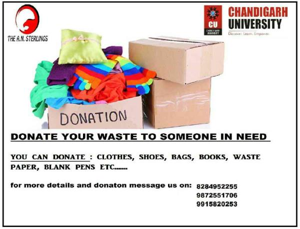 donation for poor in Chandigarh university campus.. donate your unused goods to someone in need - by the a.n.sterlings, chandigarh