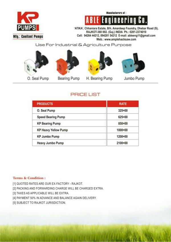 WE ARE LEADING MANUFACTURER OF COLLANT PUMP IN RAJKOT - by Able Engineering Co , Rajkot