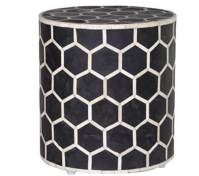 Black Bone Inaly Stool Colour - Black  Design - Bee Size - 18 x 14.5 D Inch. A Product By Miclandts  - by Miclandts, Udaipur