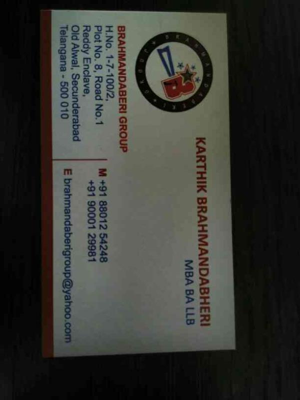 business card - by BRAHMANDABERI GROUP, Hyderabad