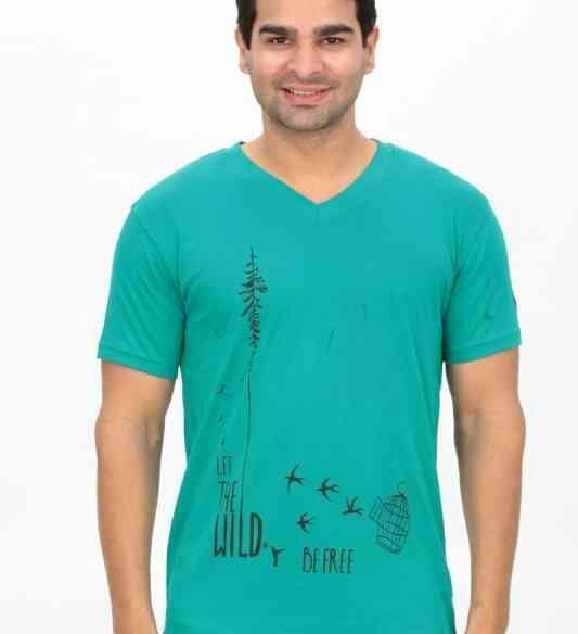 Printetd V Neck T Shirts Green wild Print  - by Indianenginer, Tiruppur
