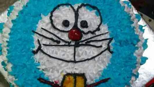whipped cream doraemon cake fr a 2 yr old - by Akki Cups And Cakes, Ahmedabad