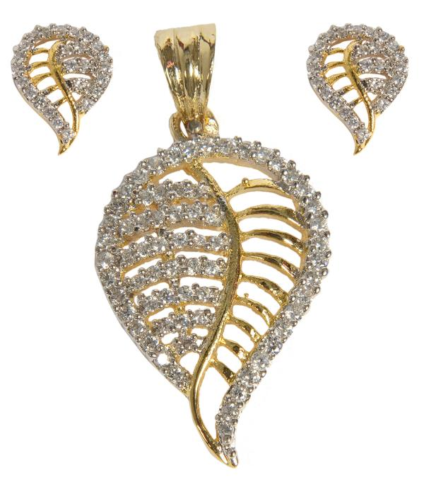 Lifestyle Pendant Set  A beautiful pendant set from FR Traders llp. Crafted to perfection with silver alloy,   gold plated, and studded with sparkling stones - by www.frozaz.com, New Delhi