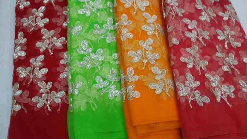 Work  on net fabric, this  is  usually  use  for  making  saree s,  dress  and  fashionable  dress   - by HaripriyaFabs, Secunderabad