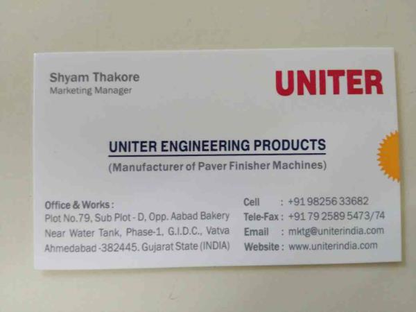 paver finisher machines are road construction equipments for laying asphalt, wetmix gsb dlc material - by Uniter Engineering Products, Ahmedabad