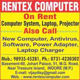 computer on hire - by Rentex Computer, Indore