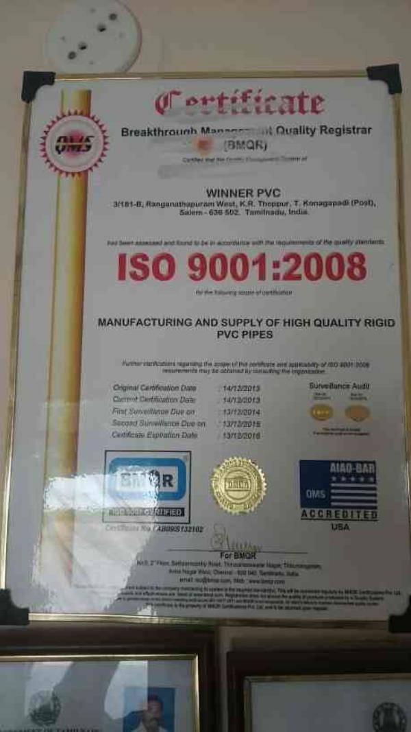 Pvc Pipe Manufacturer in salem - by Winner PVC, Salem