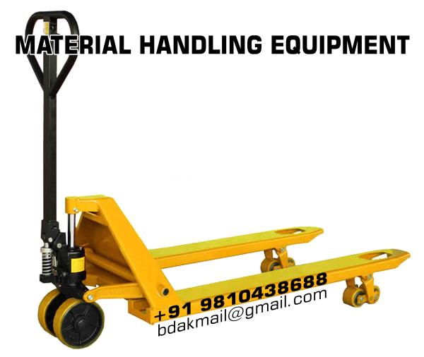 As the name implies, pallet truck are frequently relied upon to transport pallets of materials. Pallets are used to provide a structural foundation and common footprint of various materials requiring transport; items on the pallet are usual - by Material Handling and Lifting Equipment in Delhi|Balkishan Dass, delhi