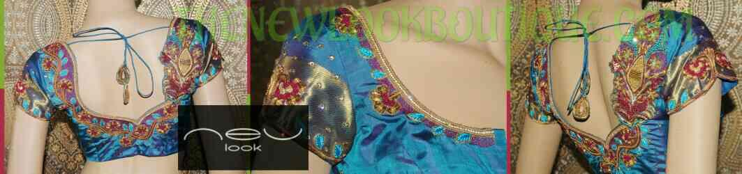 Heavy zardozi work on a blue blouse with the combination of pink color resham enhancing the beauty of the Bridal Blouse - by NEW LOOK BOUTIQUE, Bangalore