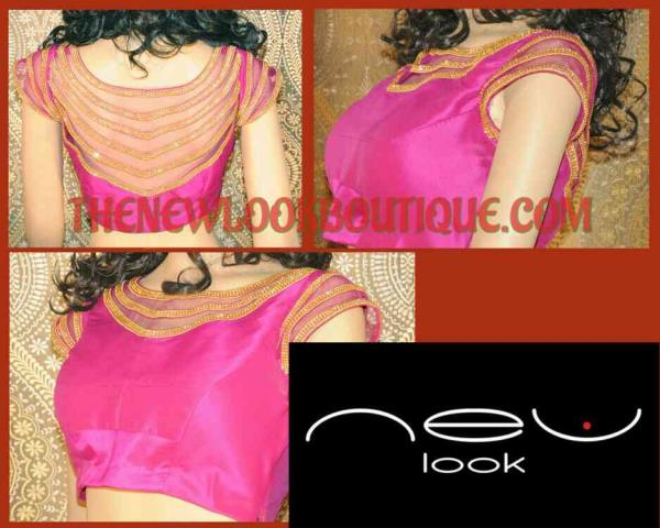 Stone lase work on a Netted blouse from one of the best Designs in Bangalore..  - by NEW LOOK BOUTIQUE, Bangalore