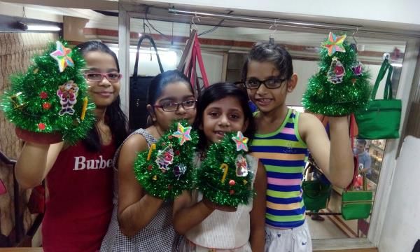 Merry Christmas to all.  Children Crafted a Christmas Tree and enjoyed the Making   - by Axita Drawing Classes, Mumbai