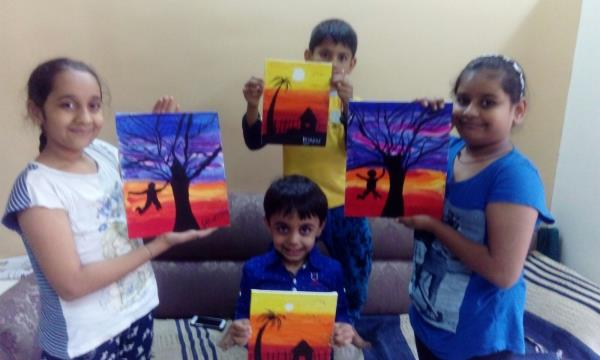 Students Painted Frosty Evening, Colour Shading reflects the Current Atmosphere of Mumbai - by Axita Drawing Classes, Mumbai