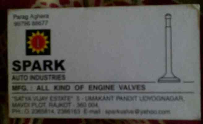 We are manufacturer of engine valves in rajkot # - by Spark Auto Industries , Rajot