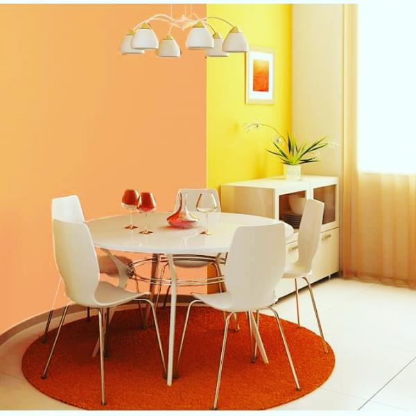 Use colour blocking to give your dining room an edge over the rest! Ensure to stick to a warm or #cool° colour scheme and not use contrasting colours. - by Quality Paints, Pune