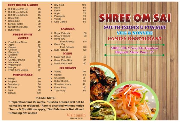 Menu - by Om Sai Family Restarunt, Pune