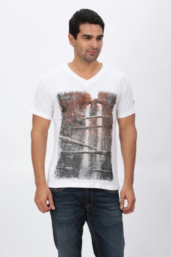 Digital Print White t Shirt   V Neck in digital printed 100% good Quality men's T Shirt in indian engineer t shirt - by Indian Engineer, Tiruppur