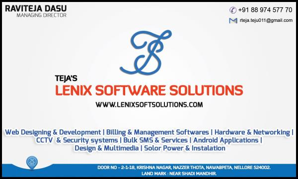 hi everyone my name is RAVI TEJA DASU....iam working as free lancer....iam providing some following services in the market...the following things mentioned elow in my visiting card - by lenixsoftsolutions, nellore