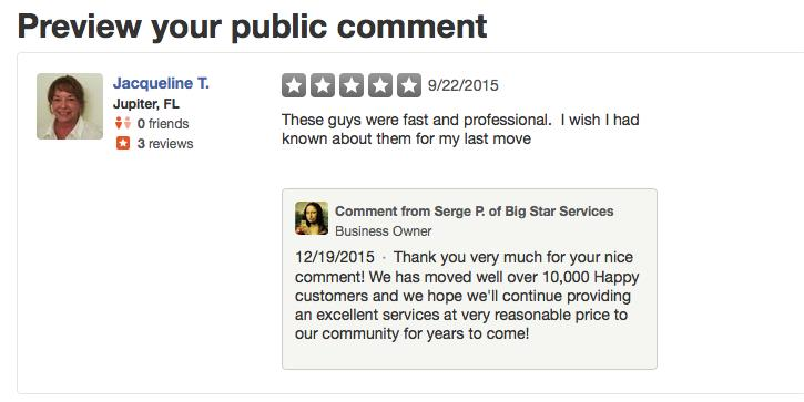 Big Star Moving reviews: http://www.yelp.com/biz/big-star-moving-services-west-palm-beach?utm_campaign=www_business_share_popup& utm_medium=copy_link& utm_source=(direct) - by Big Star Moving from $199 serving South Florida - West Palm Beach movers, West Palm Beach