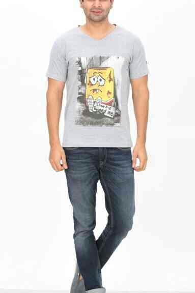 Melange V neck T shirt Printetd  - by Indian Engineer, Tiruppur