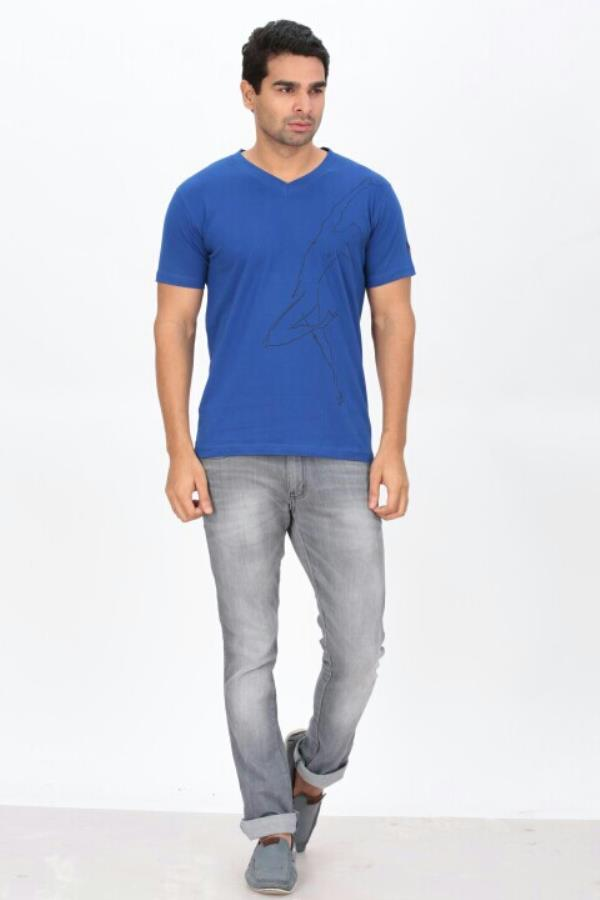 Royal Blue Fancy T shirt   - by Indian Engineer, Tiruppur
