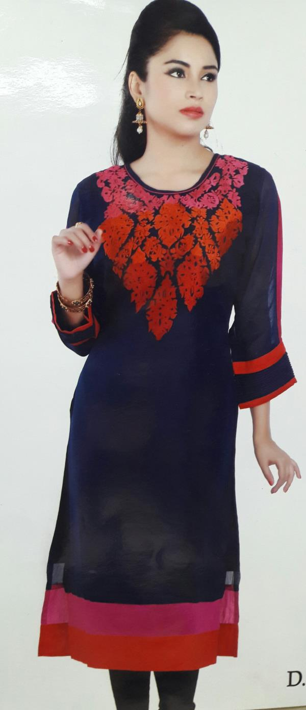 Fancy gorget kurti with embroidery in navy blue colour  - by Gurukrupa Collection, Mumbai