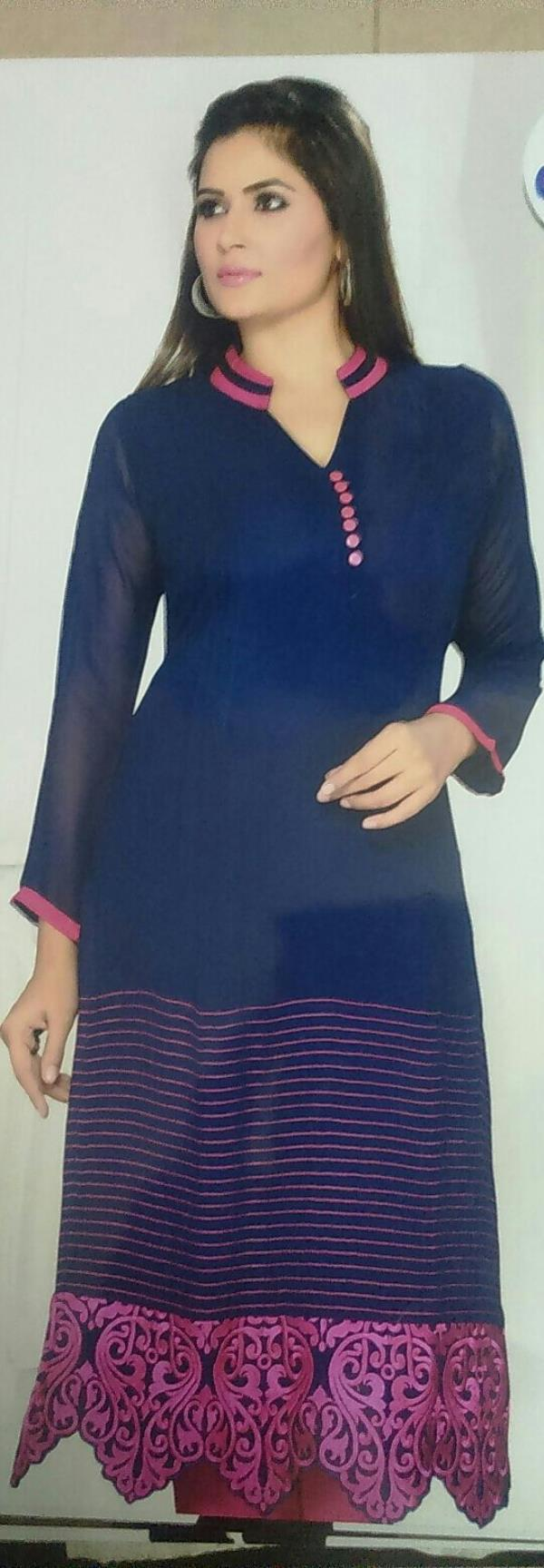 Fancy Shifon kurti with Dark Blue Colour and Orange Embroidery  - by Gurukrupa Collection, Mumbai
