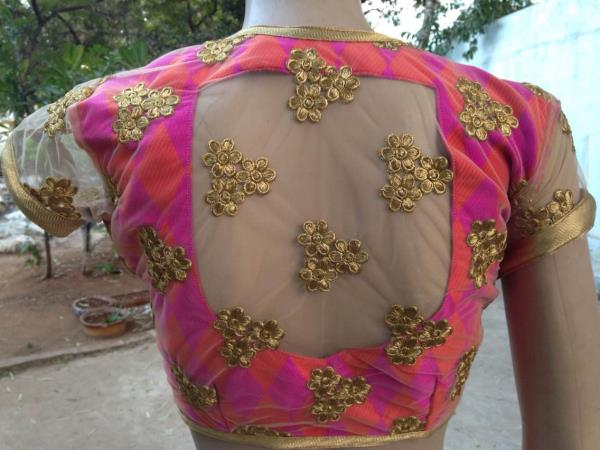 Blouse designed. Raw silk and embroidered net.  - by Saakruthi, Hyderabad