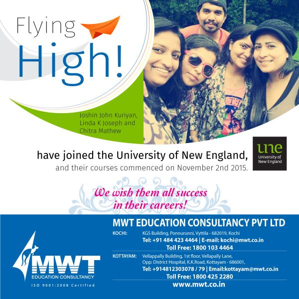 Our New Batch At University of New England  - by Mwt Education Consultancy, Ernakulam