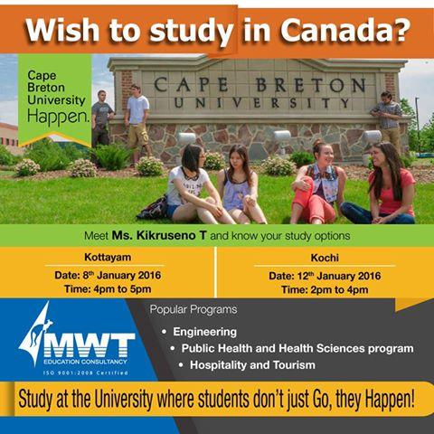 Free Seminar about different study options @MWT Consultancy Vyttila - Cape Breton University - Canada   - by Mwt Education Consultancy, Ernakulam