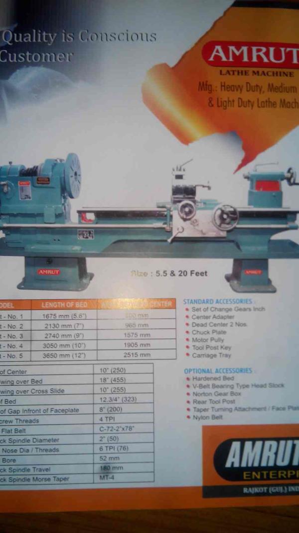 Lathe Machine Manufacturers in Rajkot - by Amrut Industries, Rajkot