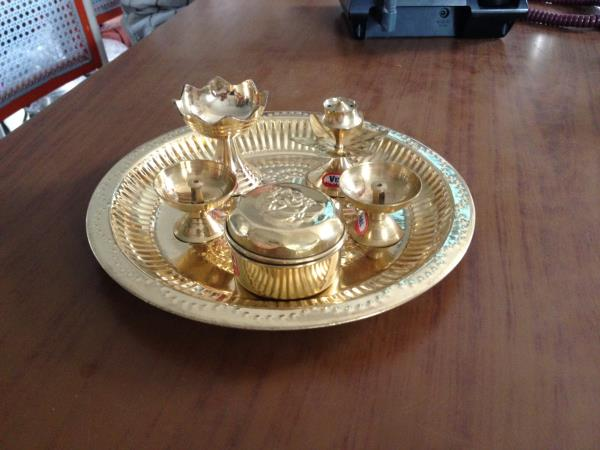 Brass Pooja set, brass plate, deep, agarbathi stand kukumbarni  Rs. 350 - by Vishalandhra Industries, Hyderabad