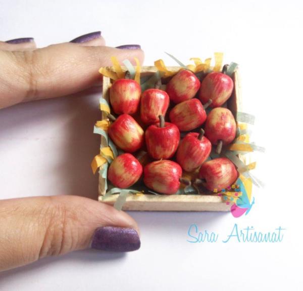 Miniature Apple Crate.  #miniatureapple #miniaturemagnets #minifood #saraartisanat #apple #handmade  - by Sara Artisanat, Chennai