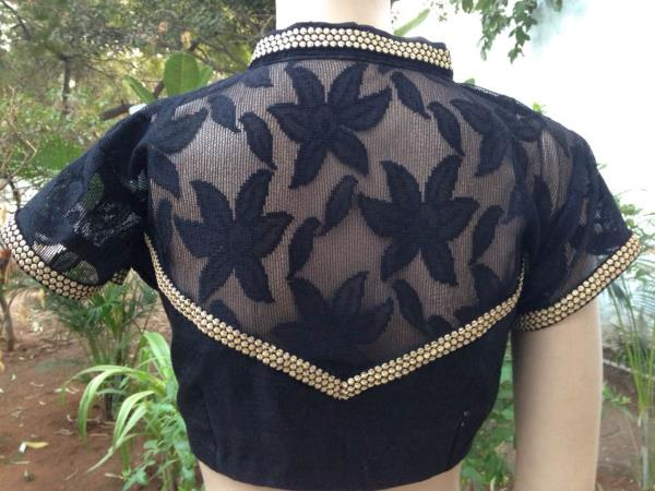 Black raw silk and self net with gold piping - by Saakruthi, Hyderabad