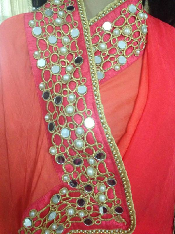 Pearl and gold border on hot pink self georgette-mix - by Saakruthi, Hyderabad