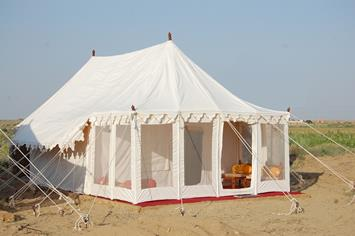 Prince Desert Camp : Located at Sam , 45 Kms from Jaisalmer (known as sand dunes of Thar Desert). Prince Desert Camp is one of the best camping sight of Thar Desert- Jaisalmer.   Fourty tents furnished with modern amenities and traditional  - by Hotel Prince & Resort, Jaisalmer