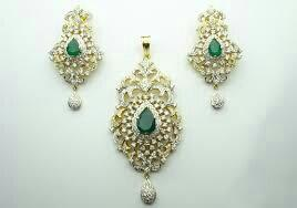 diamond ear and pendant set - by Jai Bavani Jewellers, Kphb Jntu Kukatpally