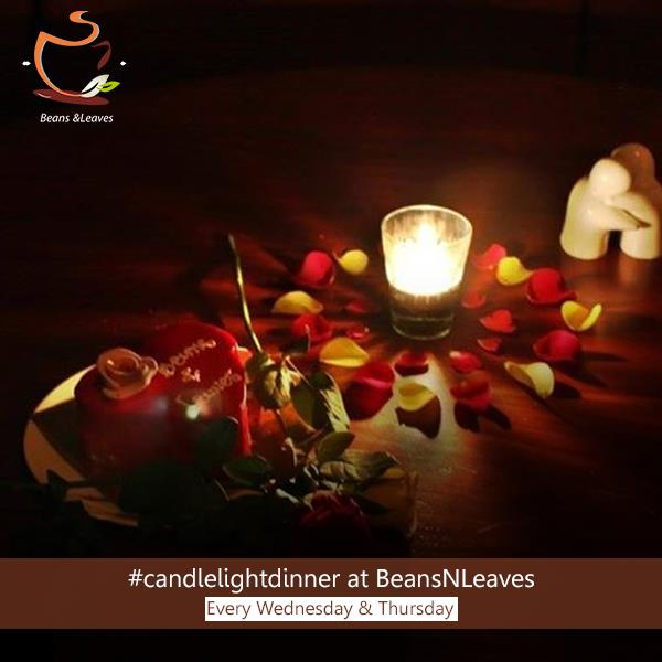 Top 5 Reasons to do a #candlelightdinner at #BeansNLeaves  #Reason3: At Beans & Leaves, we do the table décor with fresh rose petals sourced from the farms. Adds that romantic touch, don't you think? - by Beans And Leaves, Ahmedabad