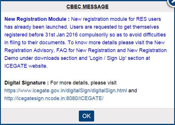CBEC Message on New Registration Module - by P K JAISWAL & ASSOCIATE, MUMBAI